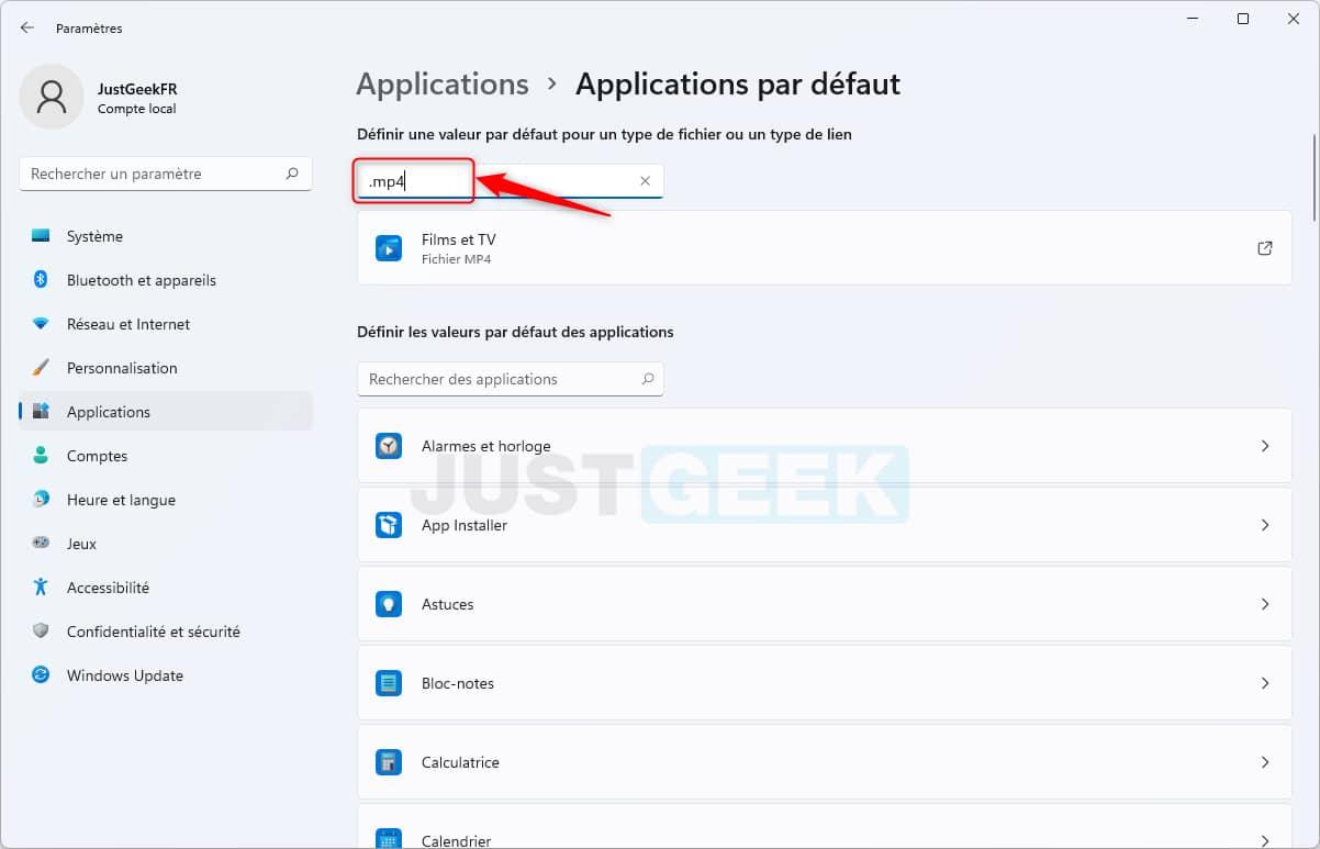 Rechercher un type de fichier pour définir l'application par défaut dans Windows 11