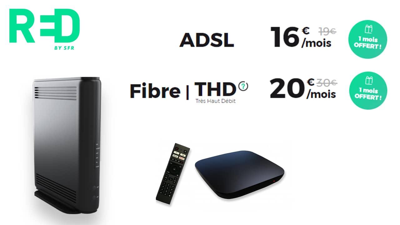 La RED box ADSL ou Fibre dont le tarif est valable à vie