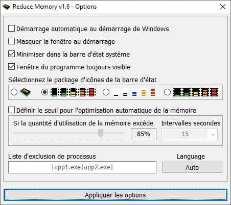 Options du logiciel Reduce Memory