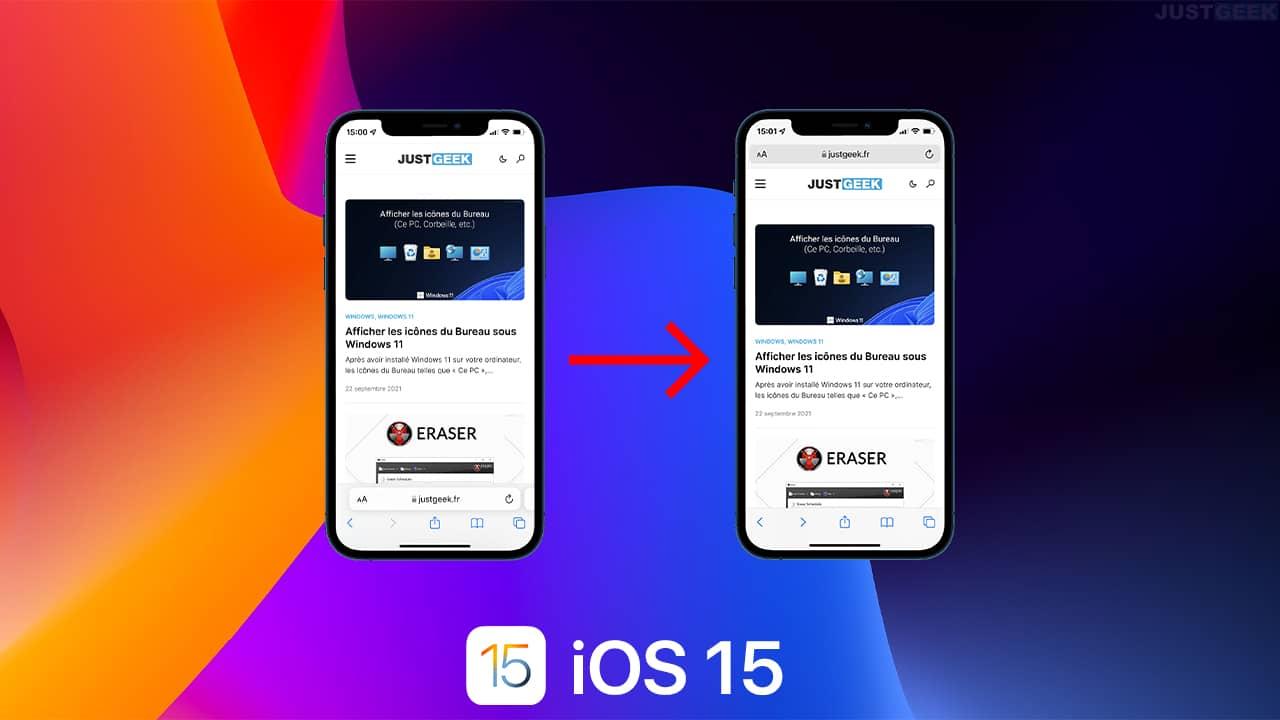 iOS 15 : remettre la barre d'adresse en haut dans Safari