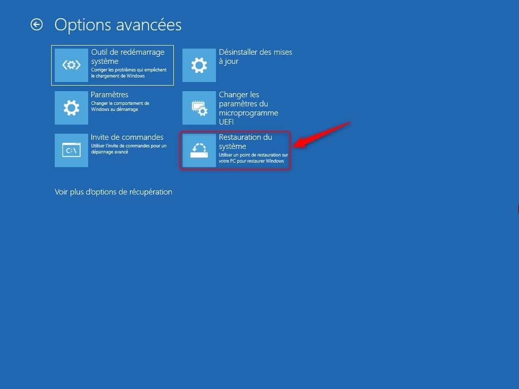 Restauration du système Windows 11