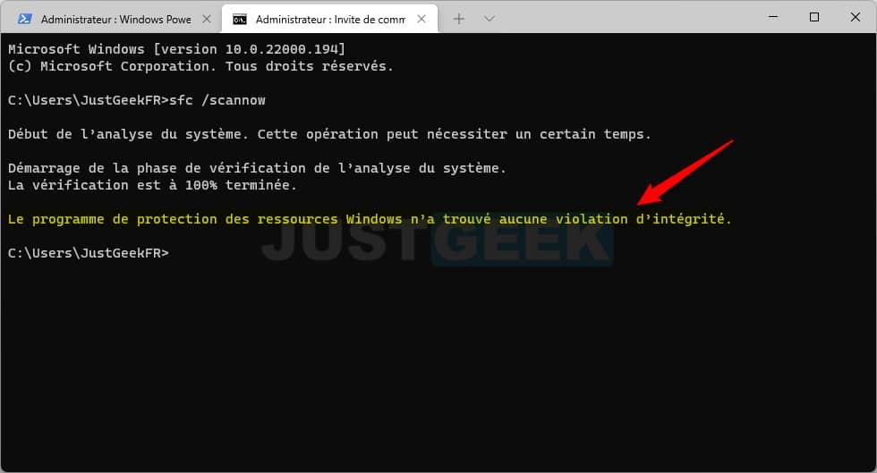 Réparation de Windows 11 terminé
