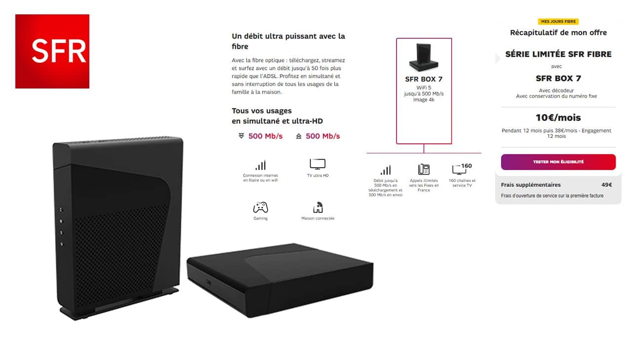 La box la moins chère : la SFR Box 7 à 10€/mois