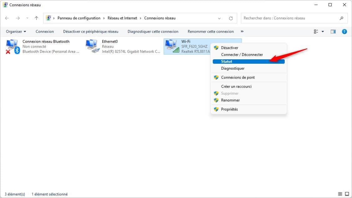 Statut de la connexion WiFi sous Windows 11