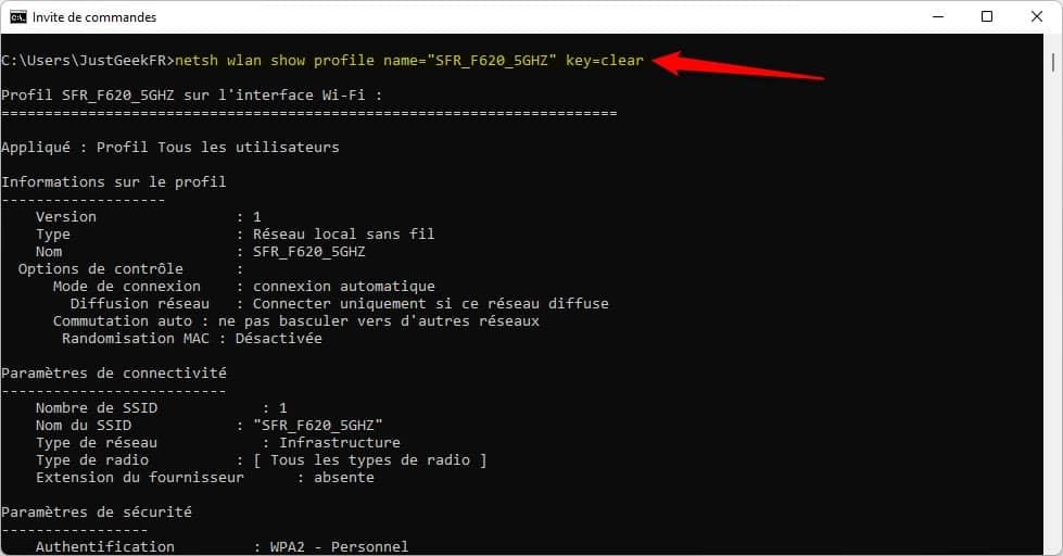 Afficher le mot de passe WiFi d'un réseau sans fil via l'Invite de commandes sous Windows 11