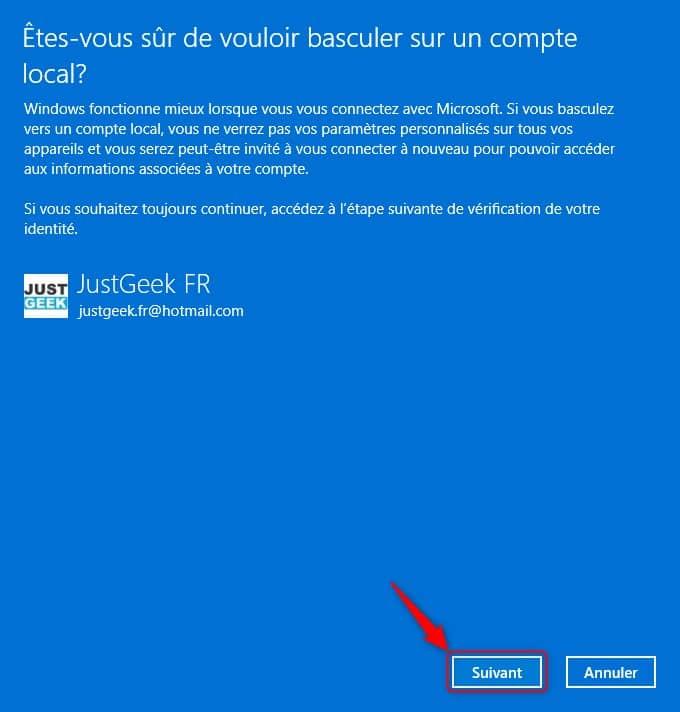 Basculer sur un compte local dans Windows 11