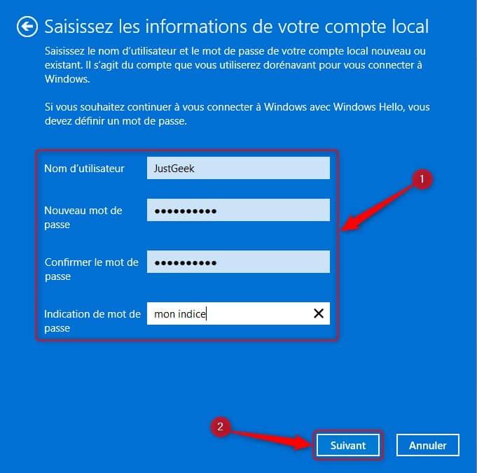 Saisissez les informations de votre compte local sur Windows 11