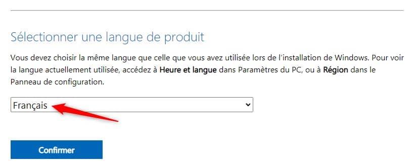 Sélectionnez une langue de produit pour l'ISO de Windows 11