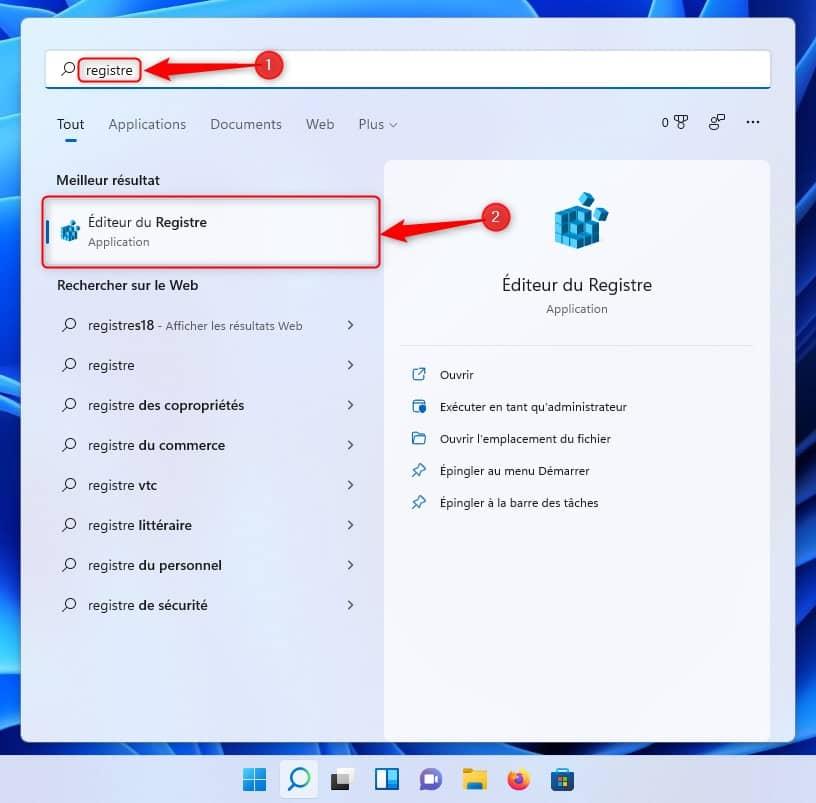 Ouvrir l'Éditeur du Registre dans Windows 11