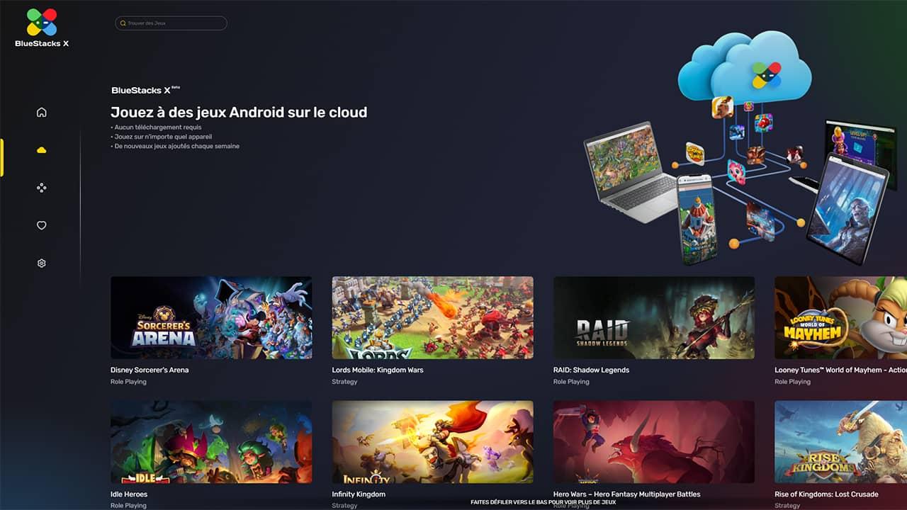 Jouer à des jeux Android sur le cloud avec BlueStacks X