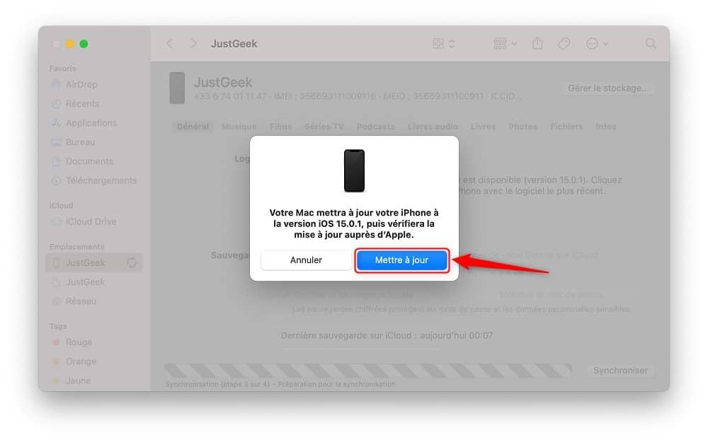 Mettre à jour son iPhone depuis un Mac