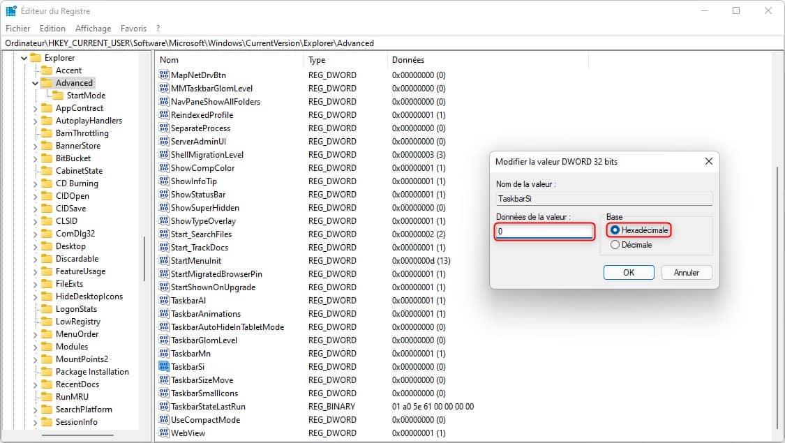 Réduire la taille de la barre des tâches dans Windows 11