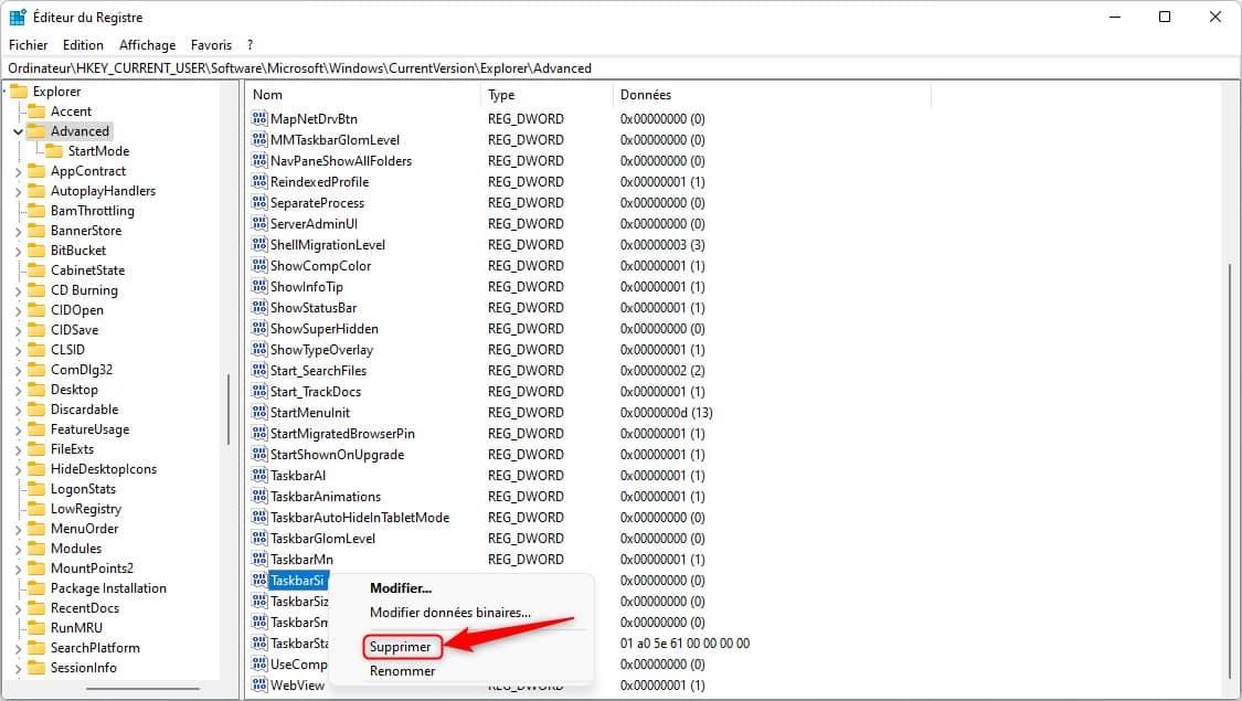 Restaurer la taille par défaut de la barre des tâches dans Windows 11