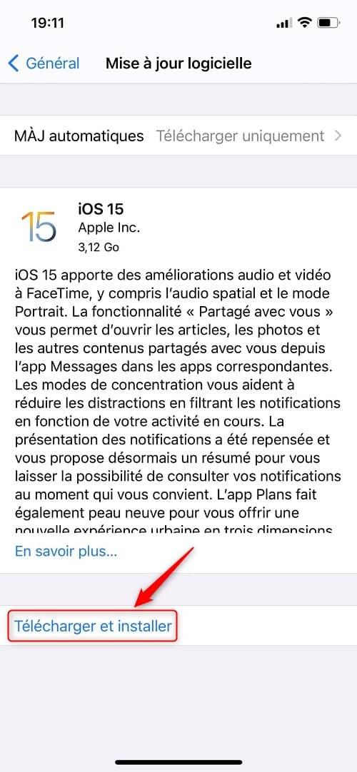 Télécharger et installer une mise à jour sur iPhone